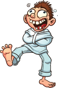 Crazy cartoon guy in a straight jacket. Vector illustration with